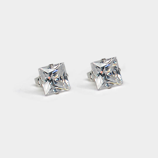 Sterling silver cz square 8x8 boxed