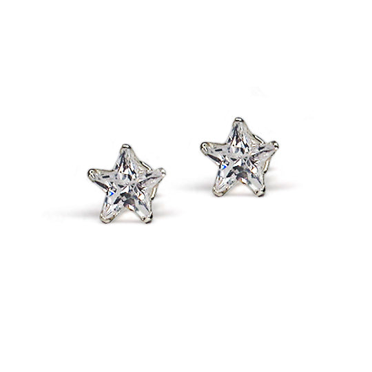 Sterling silver cz star 8x8 boxed