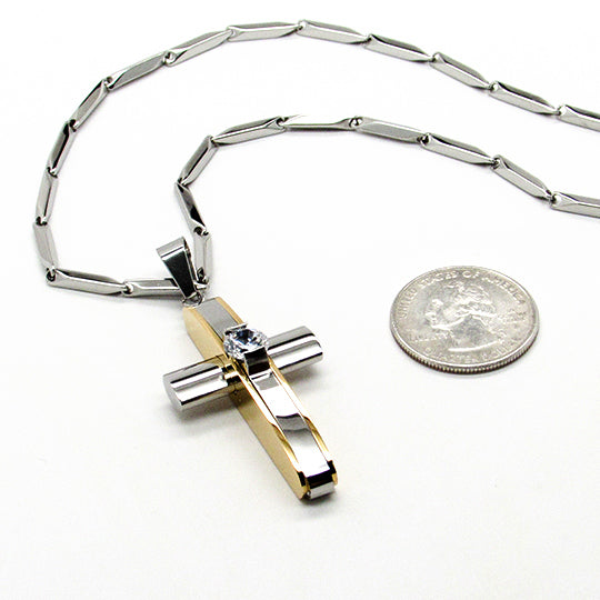 Stainless steel cross with gold lining on 30' chain