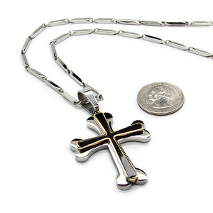 Stainless steel cross w/ black and gold w/ 24' stainless steel chain