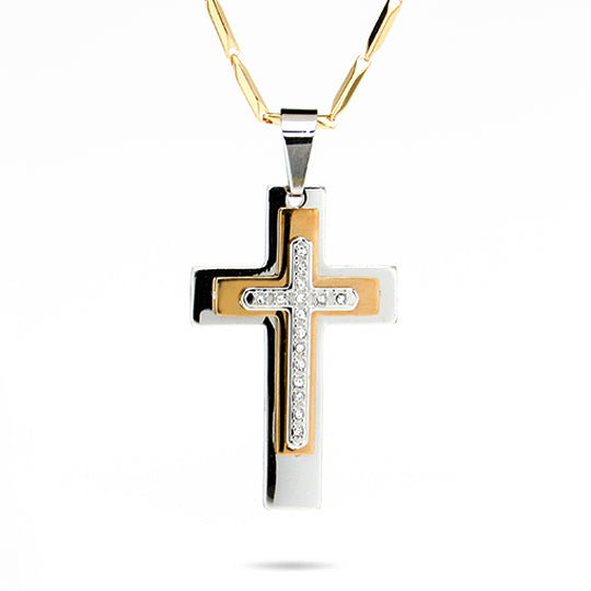 Stainless steel cross w/ silver, gold and rhinestones w/ 24' gold chain