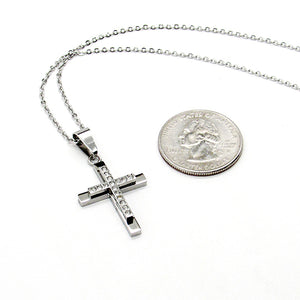 Silver chain with silver and rhinestone cross