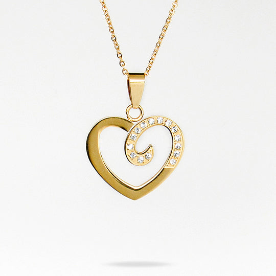 Gold chain with gold and rhinestone heart shaped charm