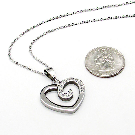 Silver chain with silver and rhinestone heart shaped charm