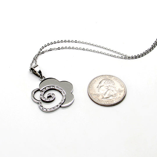 Stainless Steel chain with silver and rhinestone swirl shaped charm
