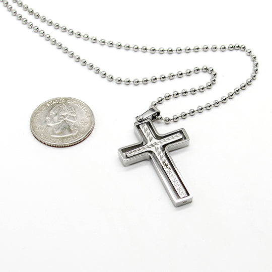 Silver ball chain with silver cross