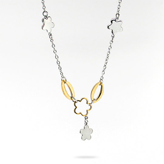 Stainless steel chain with gold and silver flowers