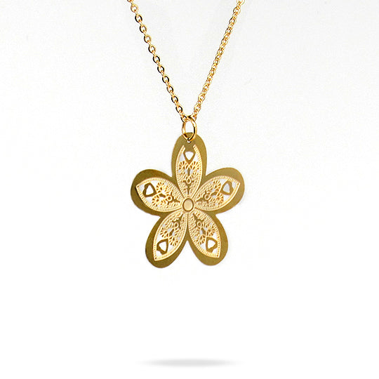 Gold chain with gold flower and heart shaped charm