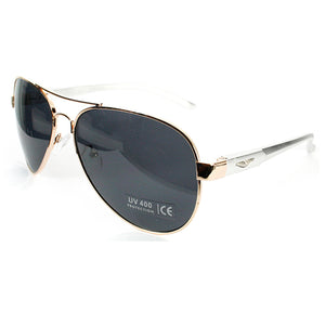 RXR aluminum aviator sunglasses w/logo on temple and spring hinge.