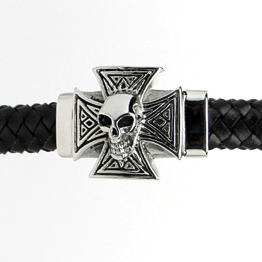 Steel leather bracelet with iron cross
