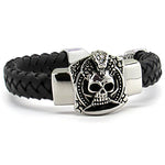 Steel Leather Bracelet with skull design