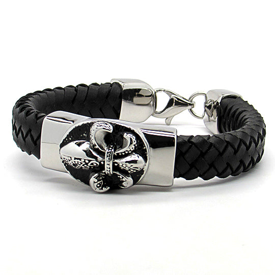 Steel Leather Bracelet with fleur de lis design