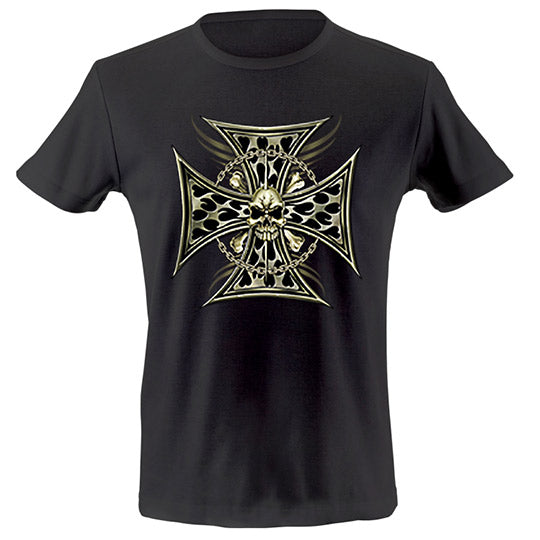 Brass iron cross T-shirt - mmzone