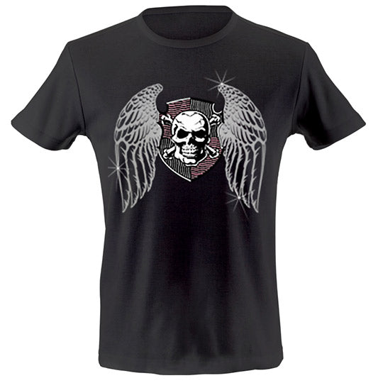 Winged skull shield T-shirt