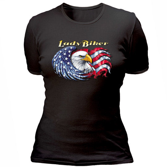 Lady biker with eagle and flag T-shirt