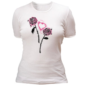 Stencil roses and heart T-shirt