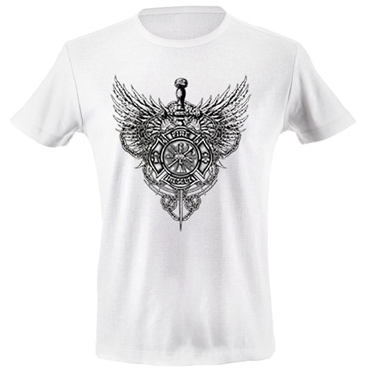 Fire rescue sword wings T-shirt