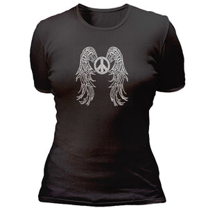 Rhinestone peace sign with wings T-shirt