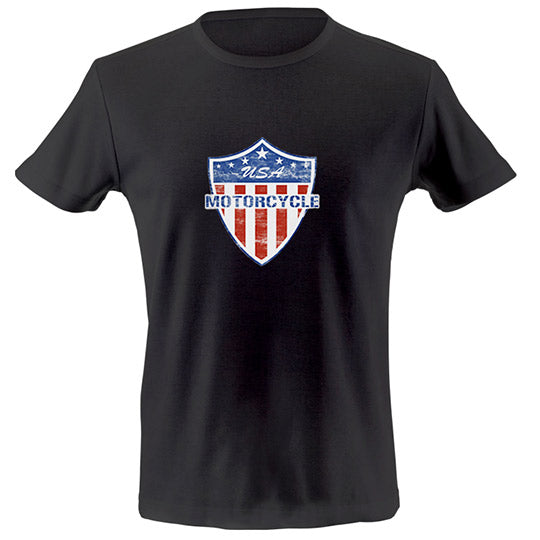 USA motorcycle shield T-shirt
