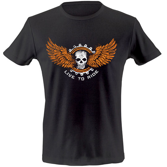 Live to ride skull wings T-shirt
