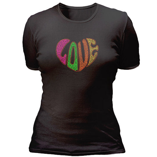 Studed love shaped heart T-shirt