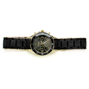 Ladies metal band watch w/ screw on bezel