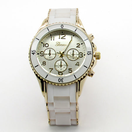 Ladies silicone watch w/ rhinestones
