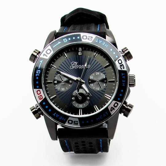 Mens jumbo watch with blue stitching