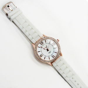 Ladies silicone band  watch with double stones and roman numerals