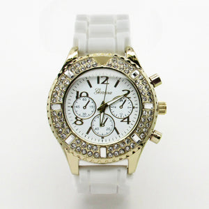Ladies silicone watch double stones bezel and big stones