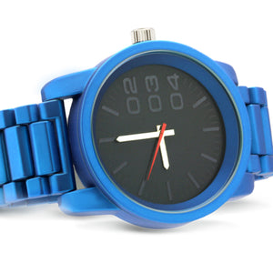 1201 Diesel style metal band watch-Blue - mmzone