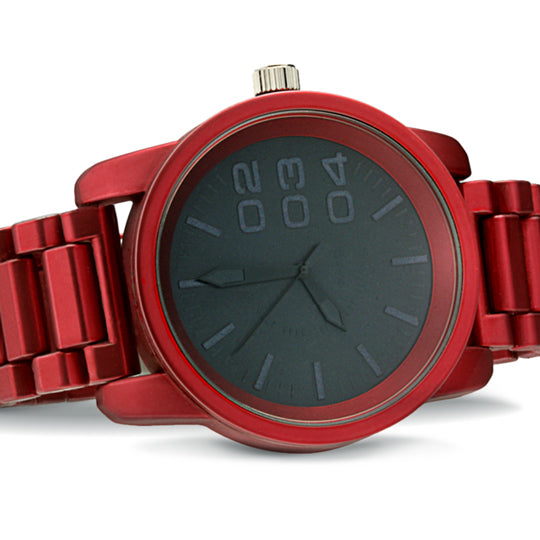 1201 Diesel style metal band watch-Red - mmzone