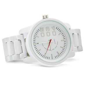 1201 Diesel style metal band watch-White - mmzone
