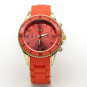 Unisex rubberized metal link watch