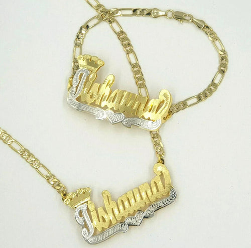 Name plate set bracelet & necklace