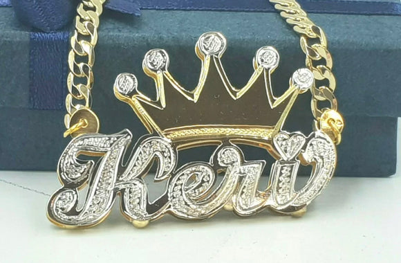 Double plate crown necklace