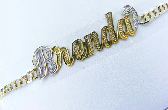 Custom 14k gold plate name bracelet
