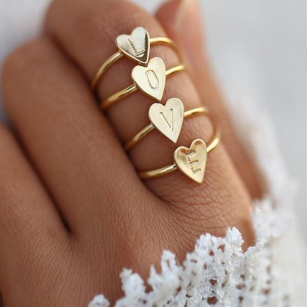 Mrs Penguin 'Personalized Heart Initial' Ring - Mrs-Penguin.com