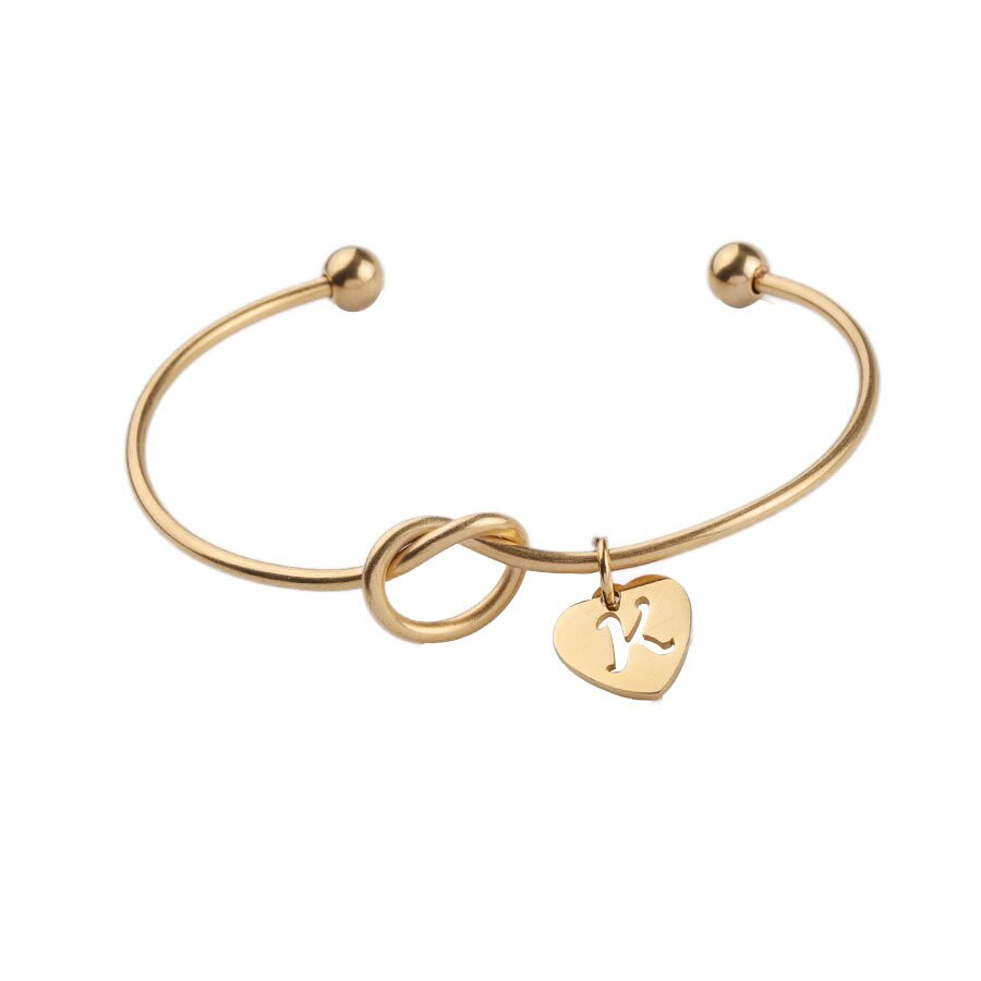 Mrs Penguin 'Personalized Tie The Knot Heart Shaped Initial' Bracelet - Mrs-Penguin.com