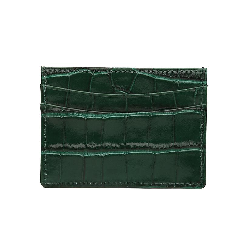 Green Croco Card Holder