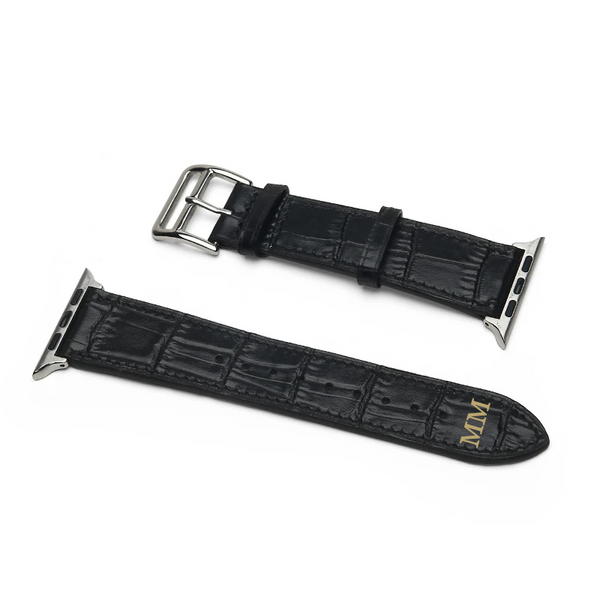Matte Black Croco Apple Watch Strap (42/44mm)
