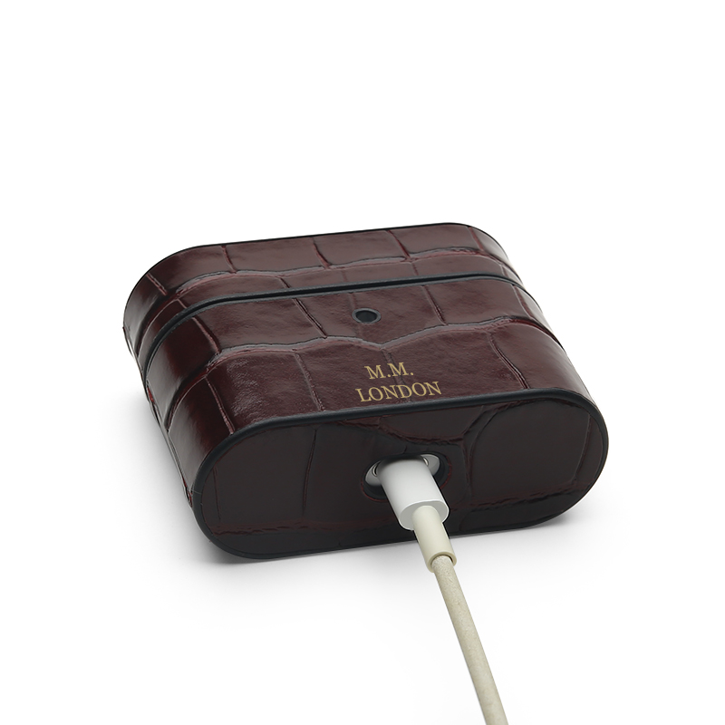Burgundy Croco AirPods Pro Case