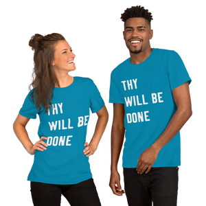 "Victorious ""Thy Will Be Done"" Short-Sleeve Unisex T-Shirt (White letters)"