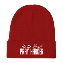 Load image into Gallery viewer, Hustle Hard Pray Harder Embroidered Beanie
