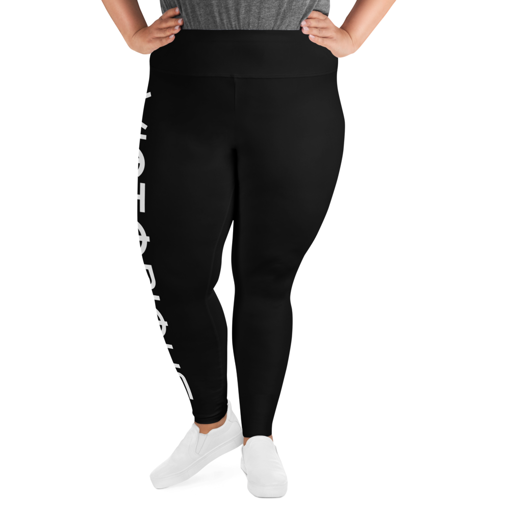 Victorious Glyphs Black All-Over Print Plus Size Leggings