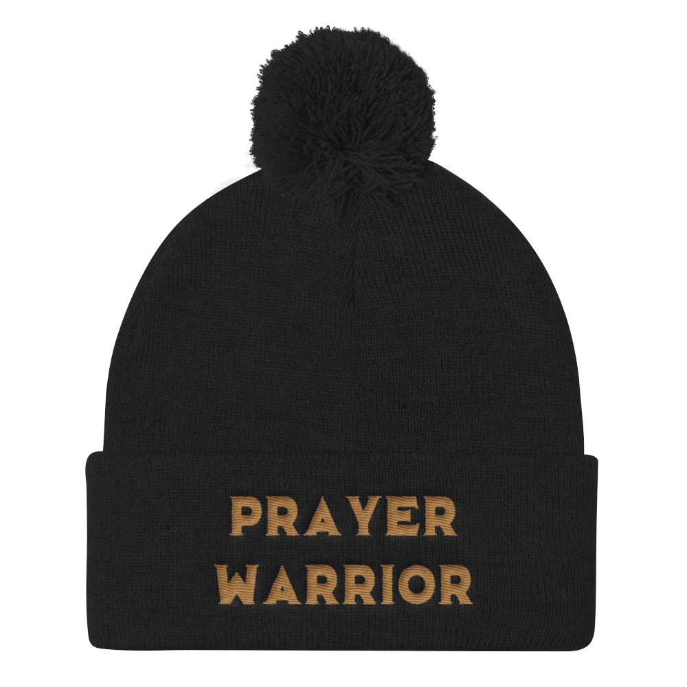 Golden Prayer Warrior Pom Pom Knit Cap