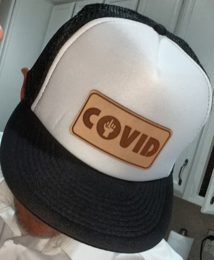 F-COVID Hat, Black & White Trucker
