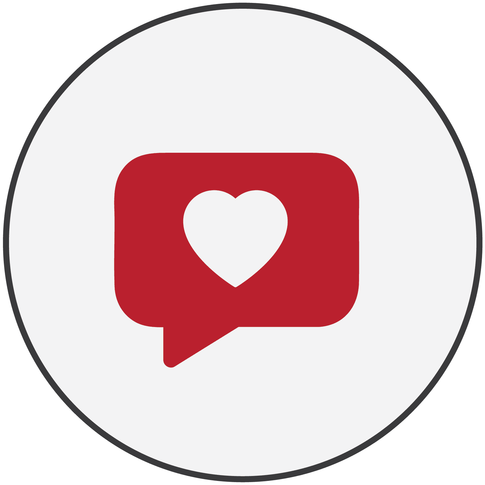 Red icon of a speech bubble with a heart