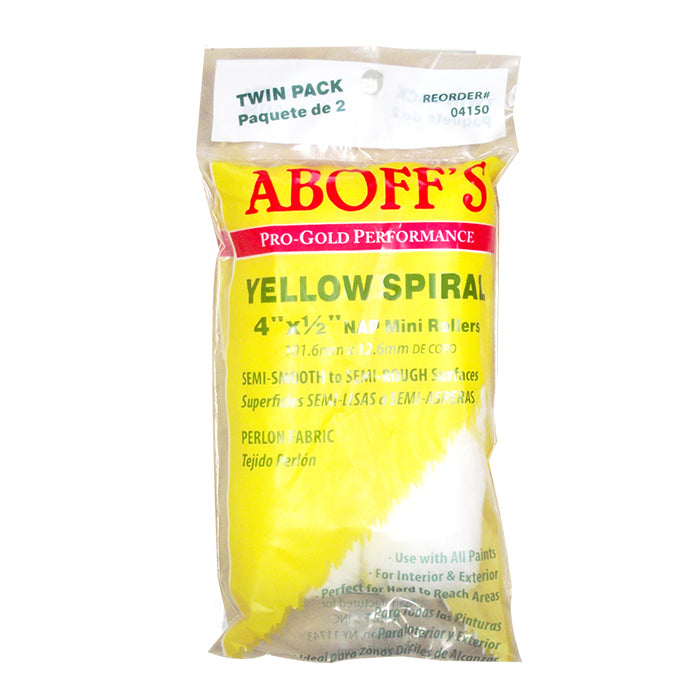 "Aboff's Yellow Spiral 4"" x 1/2"" Paint Rollers 2 pack, available at Aboff's in New York and Long Island."