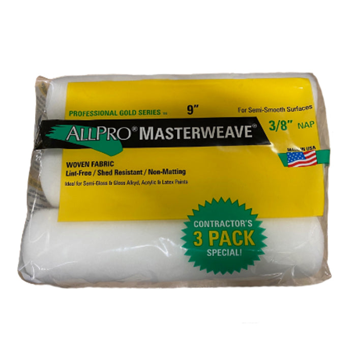 "Allpro 9x3/8"" masterweave paint roller 3 pack, available at Aboff's in Long Island and New York"